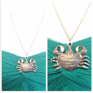 Vintage Crab Silvertone Necklace, Chinese Zodiac